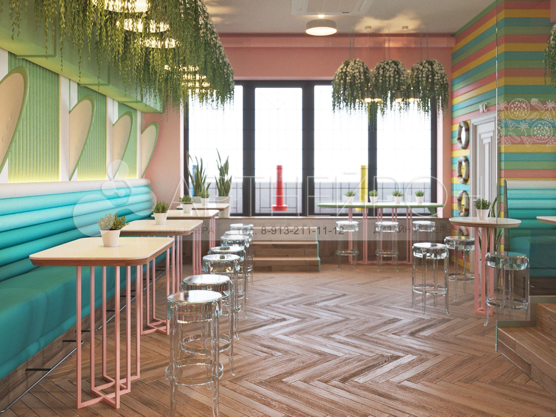 Дизайн интерьера и экстерьера MIAMI Pizza в Новосибирске